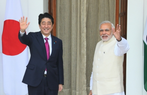 Prime Minister Abe being greeted by Prime Minister Modi prior to a bilateral summit in New Delhi in December 2015. © Official Website of the Prime Minister of Japan and His Cabinet (http://japan.kantei.go.jp/97_abe/actions/201512/12article1.html)