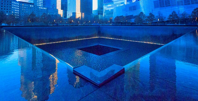 The 9/11 Memorial at the site of the former World Trade Center complex. © john mcsporran (CC BY 2.0)