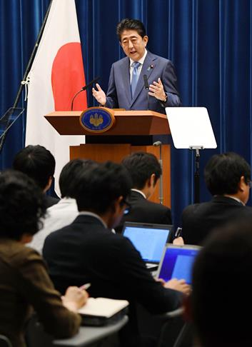 Prime Minister Abe at a June 19 news conference following the close of the regular Diet session. © KyodoNews