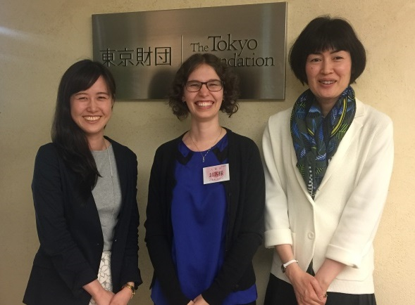 Clark, center, with Tokyo Foundation program officers Aya Oyamada, left, and Tomoko Yamada.