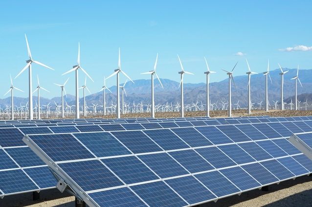 Photovoltaic solar panels and wind turbines in Palm Springs, California. ©GI Photo Stock