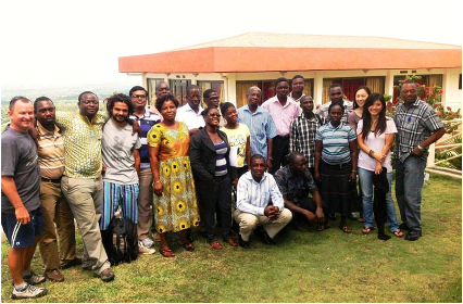 "A three-day training workshop for local ""aggregators"" in the town of Ho in the central Volta Region. The training covered best agricultural practices based on our production protocol, use of portable information and communications technology, and a range of business skills. Each aggregator serves as a hub for input distribution, monitoring, and crop collection in a given cluster, allowing Copa Connect to operate efficiently in areas without access to irrigation, where small farms tend to be scattered over a wide area."