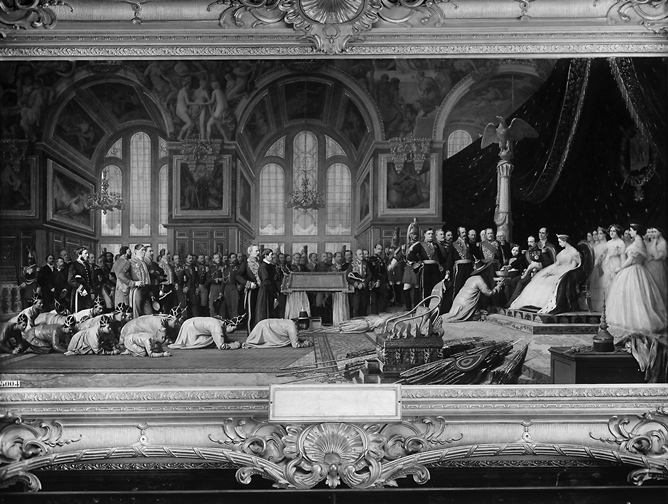 Napoleon III and Empress Eugenie receiving the ambassadors of Siam in the Castle of Fontainebleau. ©Fratelli Alinari/Alinari via Getty Images