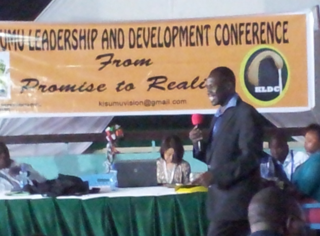 Otieno Aluoka at the Kisumu leadership conference.