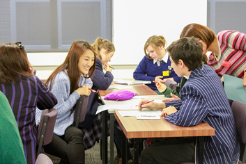 Canterbury University and Christchurch high school students work together at the workshop.