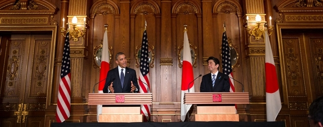 President Obama and Prime Minister Abe hold a joint press conference at Akasaka Palace in Tokyo, April 24, 2014. © Official White House Photo by Chuck Kennedy (CC 3.0)