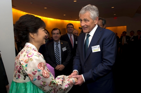 Secretary of Defense Chuck Hagel greets South Korean President Park Guen-hye at the sixtieth anniversary gala of the bilateral alliance in Washington, DC, on May 7, 2013. (© Dept. of Defense photo by Erin Kirk-Cuomo)